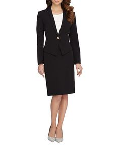 This classic crepe suit is sure to become a professional wardrobe favorite. Polyester/elastane. Dry clean. Imported.
