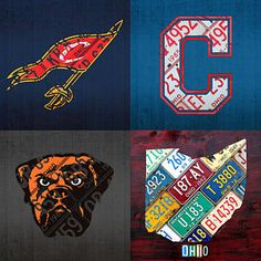 Cleveland Sports Mixed Media - Cleveland Sports Fan Recycled Vintage Ohio License Plate Art Cavaliers Indians Browns And State Map by Design Turnpike