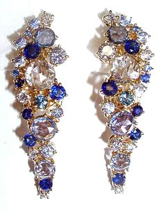 OR2008 18 karat yellow gold earring with 1,34 ct diamonds, 3,79 ct sapphire and 5,61 ct rosecut sapphire http://www.teoremafinejewellery.com/ www.facebook.com/TeoremaFineJewellery Milano-Italy