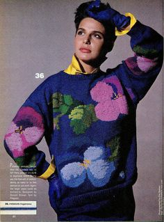 Pansy intarsia sweater pattern
