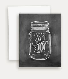 Mason Jar Notecard Be Full Of Joy Mason Jar by LilyandVal