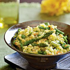 Saffron adds a hint of color and exotic flavor to the vegetables in this risotto dish.