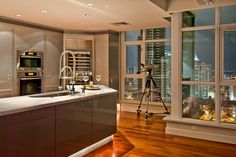 Bright kitchen by day and perfect views by night!