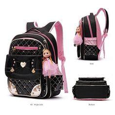 6728e278c29 Buy Kids School Backpacks Girls Waterproof PU Leather Student Bookbag  Barbie Doll online