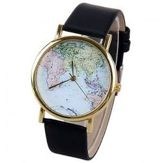 $3.75 Map Pattern Quartz Watch with Analog Indicate Leather Watchband for Women