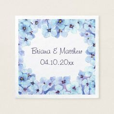 Modern Spring Violets Wedding Cocktail Napkin - spring wedding diy marriage customize personalize couple idea individuel