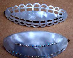 Vintage hair barrettes 2 mod style mid century hair accessory hair clip hair slide hair jewelry hair ornament (AAO)