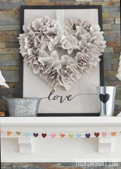Best Diy Crafts Ideas DIY Neutral Valentine's Day Mantel Decor Ideas via The DIY Mommy – Book Pages Heart Shaped Wreath DIY Tutorial, Crocheted Heart Garland and DIY Coffee filter trees! Valentine Day Wreaths, Valentines Day Decorations, Valentine Day Crafts, Happy Valentines Day, Holiday Crafts, Holiday Decor, Christmas Decor, Valentines Day Decor Rustic, Valentine Stuff
