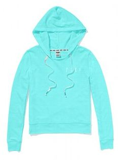 A perfect layering essential: meet the Pullover Hoodie from Victoria's Secret PINK. The raw-hem neckline and old-school inspired print graphics of this hooded top add carefree cool to any outfit. In supersoft French terry.