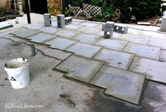 How to install beautiful stamped concrete tiles for the look of stamped concrete for a fraction of the cost! Diy Stamped Concrete, Concrete Tiles, Stained Concrete, Diy Concrete Driveway, Concrete Driveways, Driveway Ideas, Backyard Ideas For Small Yards, Small Tiles, Exterior Lighting