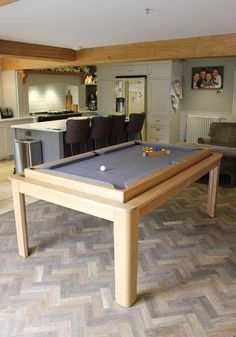 The Farmhouse Pool / Dining Rollover Dining Room Pool Table, Diy Pool Table, Outdoor Pool Table, Dining Table With Storage, Dining Table Design, Pool Tables, Basement Bar Designs, Home Bar Designs, Basement Ideas