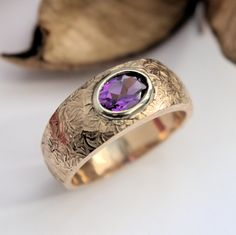 Amethyst white and yellow gold ring