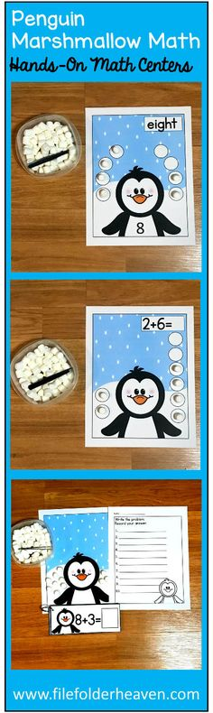 """These Penguin Math Activities: Penguin Marshmallow Math, offer students a fun and hands-on way to practice basic counting, one:one correspondence, modeling addition problems, and simple addition using marshmallows. You can also use small white pom poms as your """"snow"""" if you prefer. You can also a set of tweezers or small tongs to your center to mix in some fine motor skills practice!  There are different activities included in this set for differentiation."""