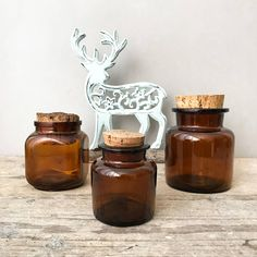 Vintage Apothecary Jars Amber Brown Glass Pharmacy Bottles