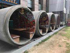 This restaurant near my house uses concrete sewer pipes for outdoor seating : mildlyinteresting Wc Container, Container Hotel, Container Restaurant, Container Home Designs, Shipping Container Design, Coffee Shop Design, Cafe Design, House Design, Kiosk Design