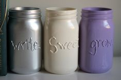 Painted Message Mason Jars DIY (pinned it. did it.)