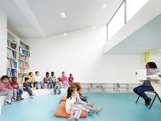 graal architecture, David Foessel · Nursery School Extension a Mantes-la-Ville Education Architecture, School Architecture, Architecture Photo, Contemporary Architecture, Paris Seine, School Places, Kindergarten Design, Preschool Education, Nursery School