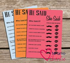 Wedding Shower Printable He Said She Said Game - Could be fun cuz we've both said some pretty dumb shit lol