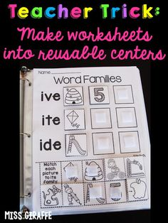 Read how to turn any boring worksheet into a fun reusable center