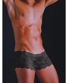 Malebasics Men's Black Lace Boyshorts