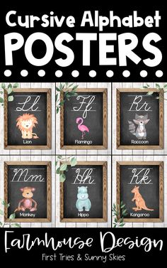 Printable Cursive Alphabet Posters - Printable ABC Posters for Classroom - Enjoy this adorable set of printable Farmhouse style ABC posters for your classroom! Each alphabet poster features a chic farmhouse design with an animal. These posters are the perfect addition to your walls and bulletin boards! Great for word walls and high frequency sight words. #abc #kindergarten #alphabet #posters #farmhouse #literacy #elementary #preschool #primary #wordwall #cursive #3rdgrade #4thgrade #2ndgrade Cursive Alphabet Printable, Alphabet Wall, Alphabet Posters, Kindergarten Classroom Decor, Kindergarten Literacy, Preschool, Literacy Centers, 3rd Grade Activities, Farmhouse Design