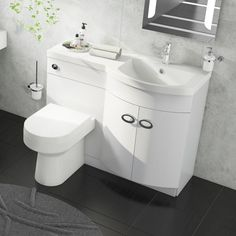 Toilet And Sink Unit, Bathroom Sink Units, Sink Vanity Unit, Compact Bathroom, Bathroom Toilets, Bathroom Ideas, Small Bathroom With Shower, Tiny Bathrooms, Bathroom Design Layout