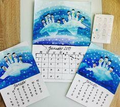 Snowman. Winter. Preschool art project. Fingerprints.   Náš kalendár. JANUÁR  Najprv sme si anelinkami namaľovali modrý podklad. Potom si Filipko namočil ruky do bielej akrylovej farby a odtlačil… Art Projects, Instagram