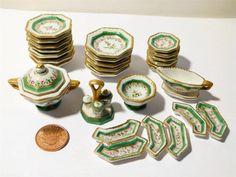 Antique Miniature Porcelain Dinner Set Goebel 1923-1949 Green Gilt Dolls House Z