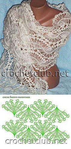 Блог для женщин » Белый палантин. Вязание на вилке.