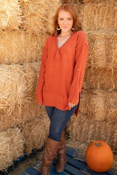 This top is a beautiful rusty orange color. It feels so fall that you definitely need it to complete your autumn wardrobe! It features button details lining its deep v-neckline. It also has long cozy sleeves with a fabric tag so you can roll them up or keep them down. This top is a winner and believe me, you need it! Medium Weight Fabric Tag In Sleeve With ButtonHalf Functional Buttons/Half Non-Functional 100% Acrylic Hand Wash ColdOversized Fit*Measurements listed below are of the actual… Pet Dander, Chambray Dress, Fabric Tags, Fall Wardrobe, Festival Outfits, S Models, Cut And Style, Clothing Items, Orange Color