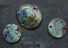 bracelet connector components metallic gold swirl crackle glaze with silver dust copper enamel lampwork jewelry supplies 4ophelia