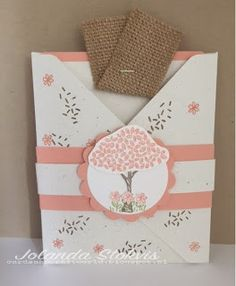 "handmade card from My Card and Craft World ... cross flap envelope forms the basic card ... pull out card with burlap ribbon ""pull"" ... Stampin' Up!"