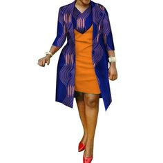 African cotton wax Print Dress and Suit Coat for Women – Afrinspiration Latest African Fashion Dresses, African Dresses For Women, African Attire, African Women, African Print Dress Designs, African Print Dresses, Traditional African Clothing, Mode Outfits, Coat Dress