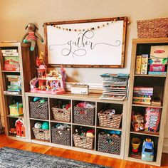 Superb playroom storage - read our article for additional good tips! Design Room, Playroom Design, Playroom Decor, Home Design, Design Ideas, Kid Toy Storage, Cube Storage, Storage Bins, Living Room Toy Storage