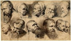 Peter Paul Rubens - Sheet of eleven studies of heads; in two rows, including two of an old woman and a white bearded man in the upper row. Pen and brown ink, with grey and brown wash, over black chalk Life Drawing, Figure Drawing, Drawing Sketches, Painting & Drawing, Art Drawings, Trois Crayons, Peter Paul Rubens, Anatomy Drawing, Anatomy Art