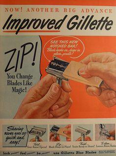 1940s GILLETTE Blades Razor illustration vintage advertisement by Christian Montone, via Flickr