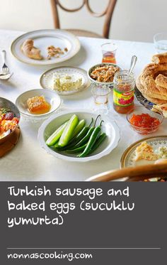 Turkish sausage and baked eggs (sucuklu yumurta) | This typical breakfast dish includes peyniri (Turkish cheese) and sucuk, a spicy, cured beef sausage. If you can't find sucuk,you could use another kind of spicy sausage or even a good quality chorizo.