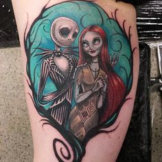 colorful nightmare before christmas tattoos