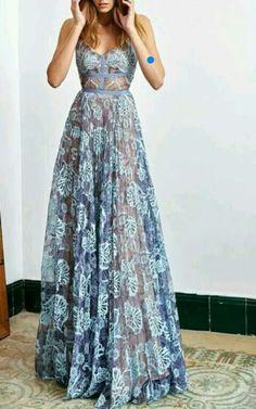 vestido largo tul estampado