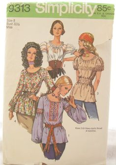 1970s Simplicity 9313 Womens Peasant Blouse Vintage by EmSewCrazy, $7.00, like the belt on top view