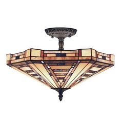 ELK Lighting 932-CB 3 Light American Art Semi Flush Ceiling Light This ELK Lighting product is offered in a classic bronze finish. Features tiffany style