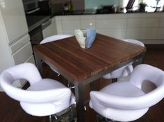 My own designed bar table with stools in my kitchen!