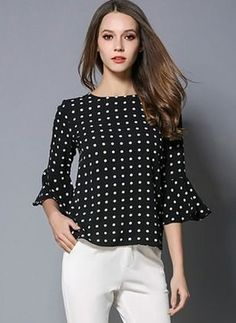 Donnalla Women Shirts 2017 New Ladies Polka Dot Printed Flare Sleeve Chiffon Tops Summer Spring Womens Loose Chiffon Blouses Blouse Patterns, Blouse Designs, Classy Outfits, Casual Outfits, Latest Fashion For Women, Womens Fashion, Professional Wardrobe, Necklines For Dresses, Couture Tops