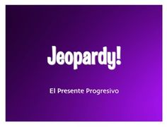"""This Jeopardy! powerpoint game is all dressed up and ready to go!  Review Spanish present progressive verbs with an interactive Jeopardy! game.  If you click on a number, it shows the """"answer.""""  From that screen you click on the """"question"""" so students know the right response."""