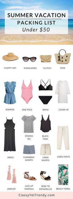 Summer Beach Vacation Packing List Under $50 -Know what to pack when you travel on your getaway and stay within your budget with clothes outfits and shoes such as a floppy sun hat, sunglasses, clutch, bag, tote, swimsuit, bikini, romper, cover up, dress, top, shorts, tank, pants, towel, espadrilles and sandals.