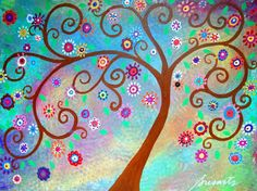 Folk Art Mexican Whimsical Tree of Life Original by prisarts, $300.00