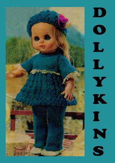 PDF Vintage 1970s 'DOLLYKINS' Dolls Clothes Knitting