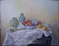 5010. CERÁMICA, FRUTA Y ENCAJES. Óleo sobre lienzo. 50x65 cm. 2007