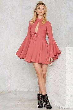 Nasty Gal Fool For You Bell Sleeve Dress - Clothes | Valentine's Day | Valentine's Day | Do East | Best Sellers | Fit-n-Flare | Solid | Dresses