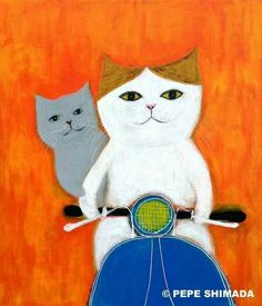 Huck and Eureka! I Love Cats, Crazy Cats, Cool Cats, Memes Arte, Japanese Cat, Cat Posters, Cat Drawing, Whimsical Art, Neko